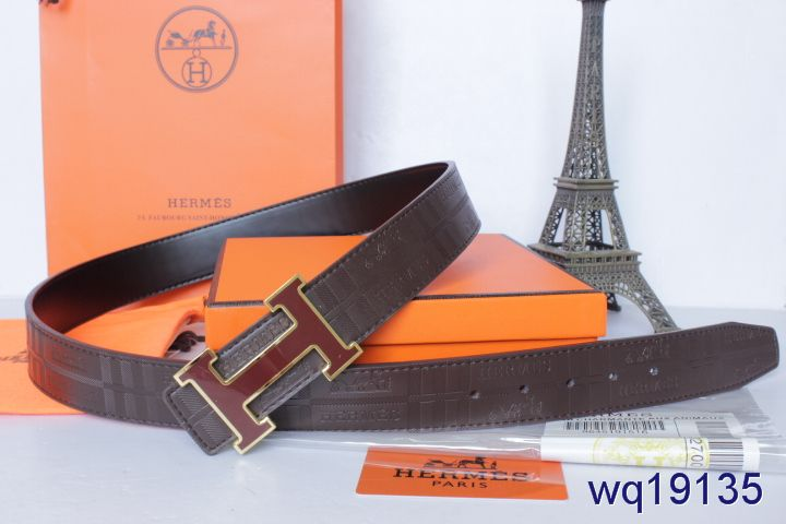 Fashion Chocolate Hermes Mens with Red H Buckle Belt