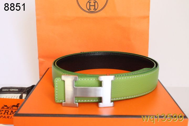Fashion Green with Silver H Buckle Hermes Mens Belt Sale