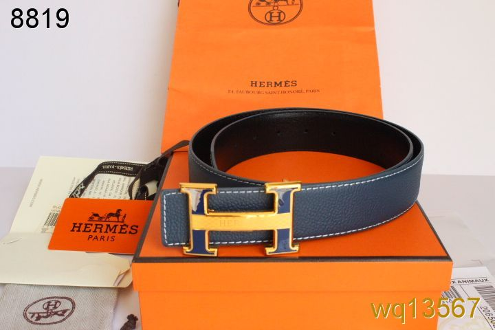 Luxury Mens with Golden H Buckle Belt Blue Hermes On sale