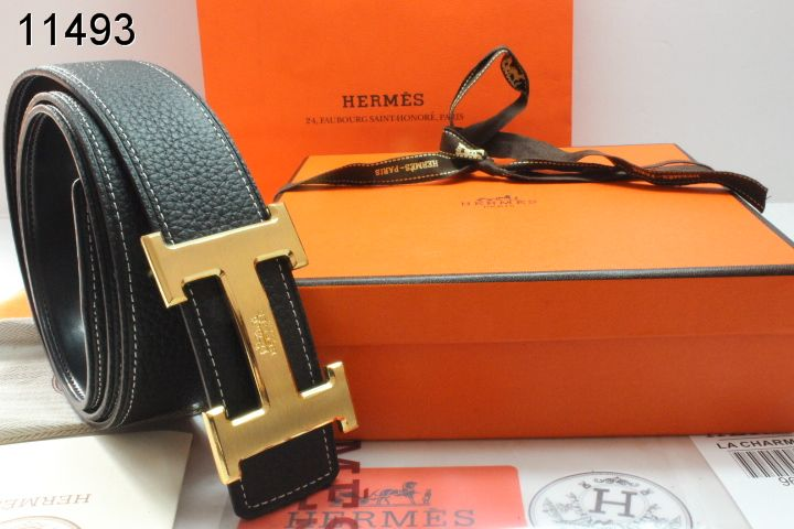 Trendy with Golden H Buckle Belt Black Mens Hermes Wholesale