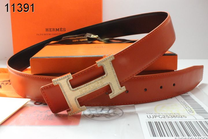 Designer Belt Hermes Mens with Golden H Buckle Orange Clearance