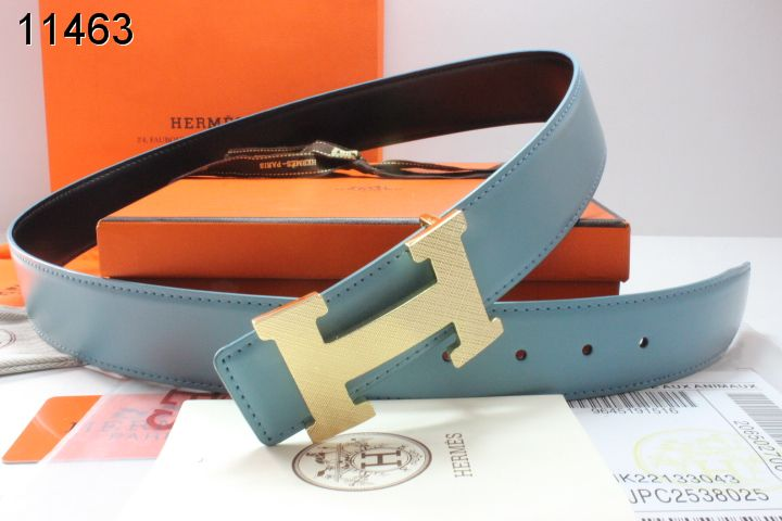 Trendy Blue Hermes with Golden H Buckle Mens Belt Online