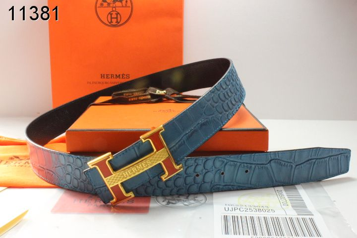 Shop with Golden H Buckle Mens Hermes Belt Blue Online