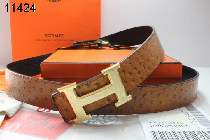 Trendy Hermes Belt Brown with Golden H Buckle Mens Wholesale