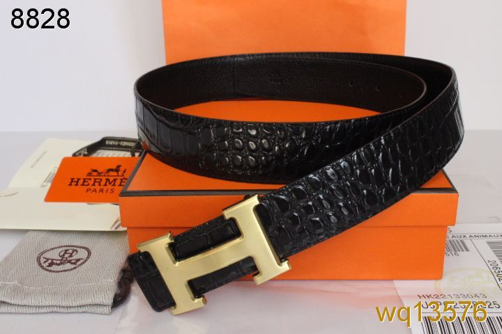 Freshest Belt Black with Golden H Buckle Mens Hermes