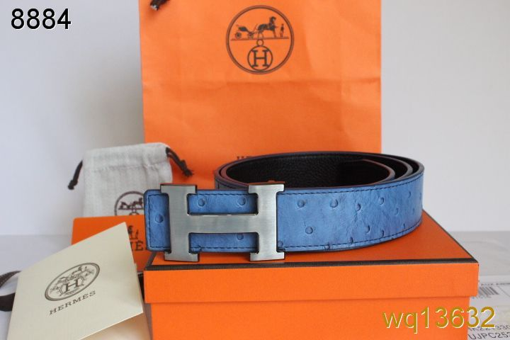 Amazing Hermes Mens Belt Blue with Silver H Buckle Online