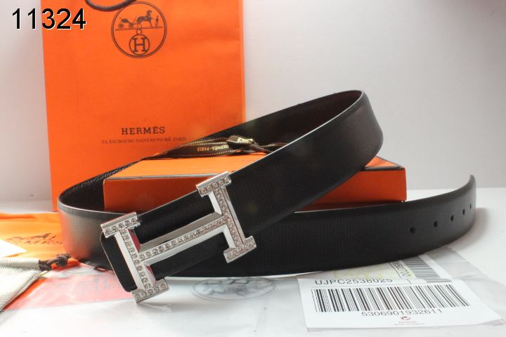 Designer Belt with Silver H Buckle Black Mens Hermes Clearance S