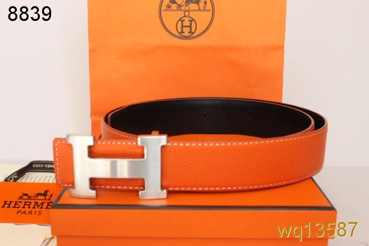 Mens Hermes with Silver H Buckle Orange Belt Wholesale