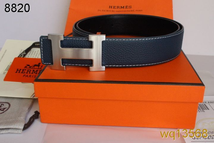 Fashion Hermes with Silver H Buckle Mens Blue Belt Outlet
