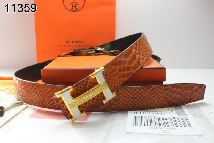 Style Hermes Mens Belt Brown with Golden H Buckle