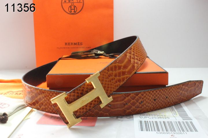 Special Belt with Golden H Buckle Brown Hermes Mens
