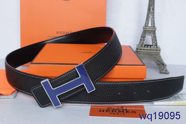 Belt Mens Black with Dark Blue H Buckle Hermes Deals