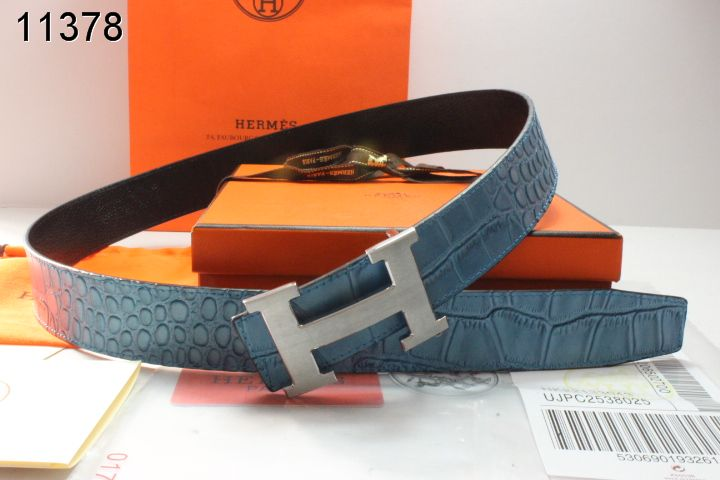 Stylish Hermes with Silver H Buckle Belt Mens Blue Sale