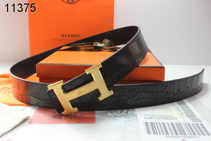 Designer with Golden H Buckle Belt Hermes Mens Black Promote