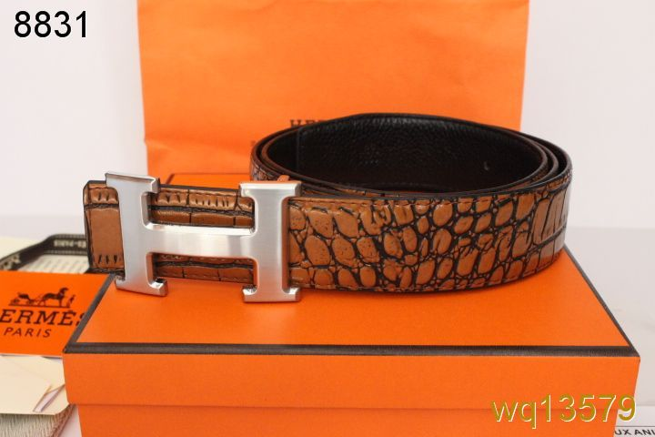 Quality with Silver H Buckle Belt Brown Hermes Mens