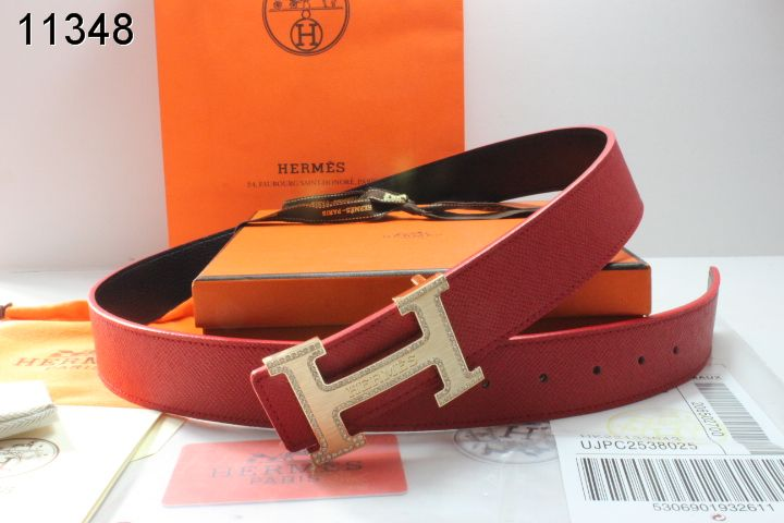 Red Belt with Golden H Buckle Mens Hermes Wholesale