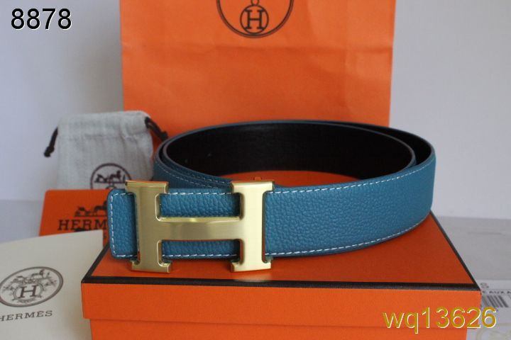 Special Belt Mens Blue Hermes with Golden H Buckle On sale