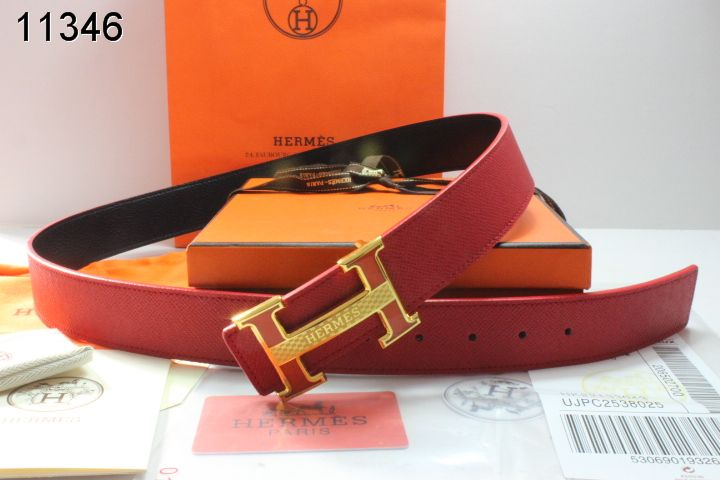 Mens Hermes Red Belt with Golden H Buckle Inexpensive