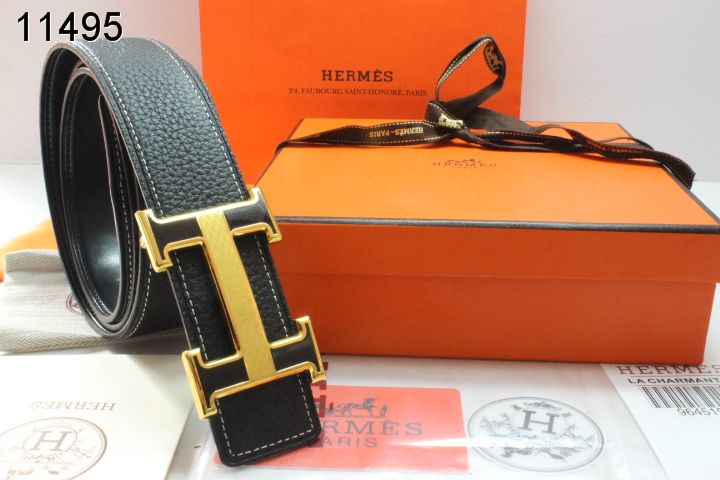 Amazing with Golden H Buckle Black Hermes Mens Belt
