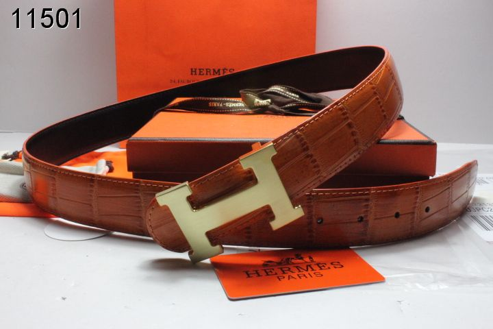 Trendy Belt Brown Mens Hermes with Golden H Buckle Store