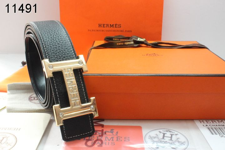 Special Mens Hermes with Golden H Buckle Belt Black Wholesale