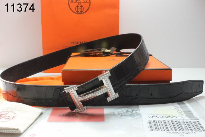 Fashion Black Hermes with Silver H Buckle Belt Mens Affordable