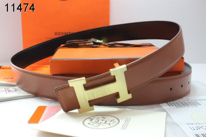Luxury Mens with Golden H Buckle Brown Hermes Belt Store
