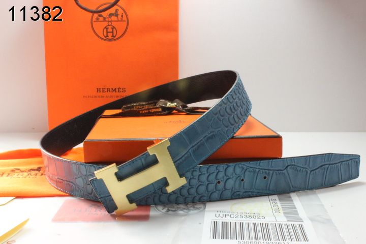 Shopping Blue Mens Belt Hermes with Golden H Buckle Online