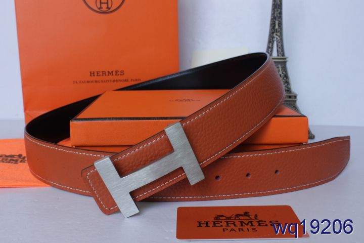 Fashionable Mens Orange Belt with Silver H Buckle Hermes Clearan