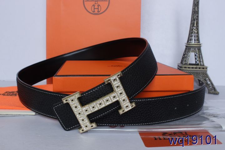 Latest with Golden H Buckle Belt Hermes Black Mens