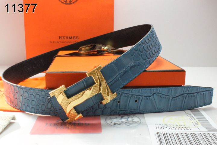 Purchase Mens with Golden H Buckle Belt Blue Hermes Online