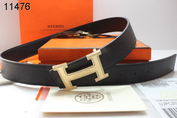 Brand Mens Belt with Golden H Buckle Black Hermes UK