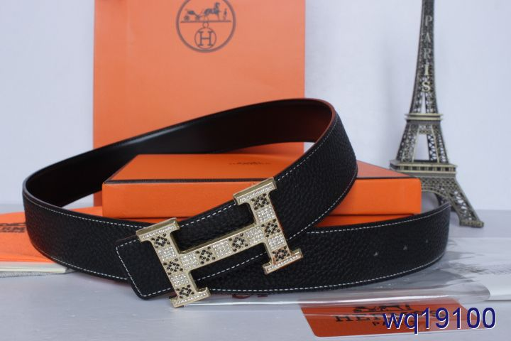 Hot Mens Belt Hermes with Golden H Buckle Black