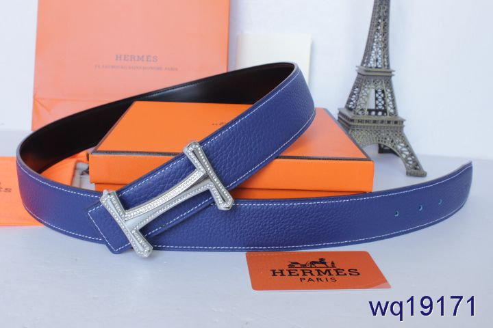 Buy with Silver H Buckle Blue Mens Hermes Belt Online