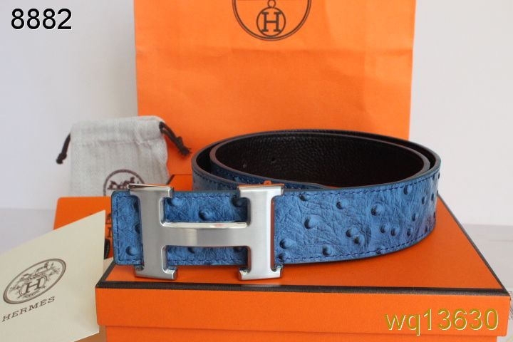 New Hermes Mens Blue with Silver H Buckle Belt Outlet