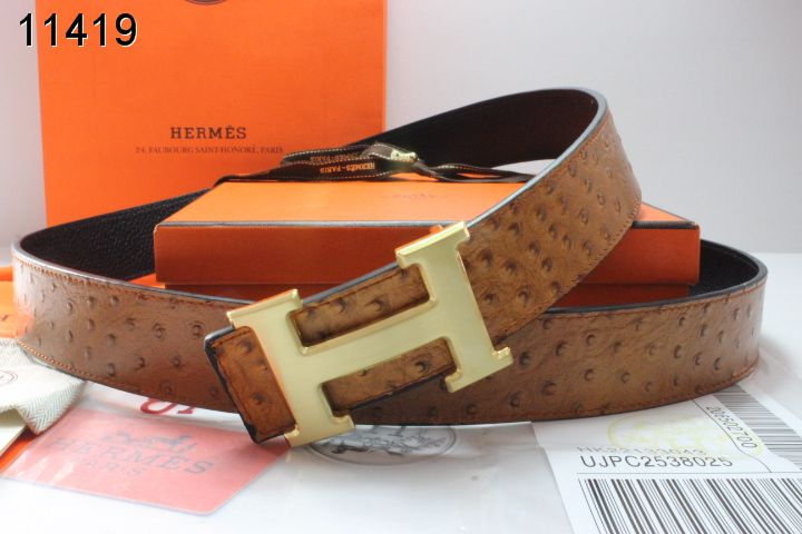Amazing Mens Hermes with Golden H Buckle Brown Belt Wholesale