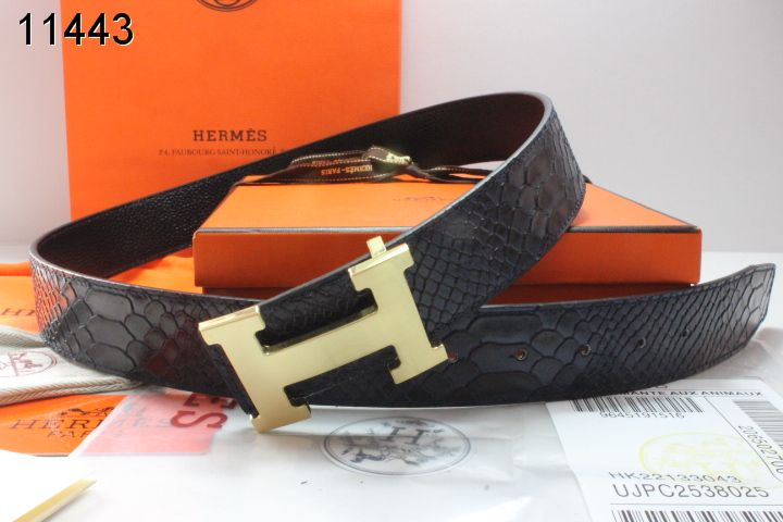 Trendy Mens Hermes with Golden H Buckle Black Belt Sale