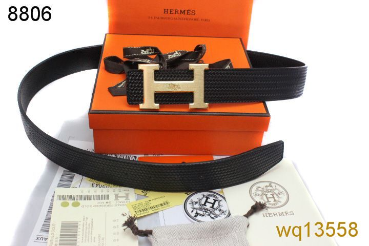 Fashionable with Golden H Buckle Mens Black Belt Hermes