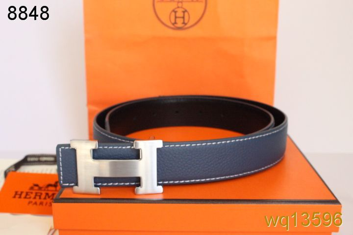 Fashionable Blue with Silver H Buckle Belt Mens Hermes Outlet