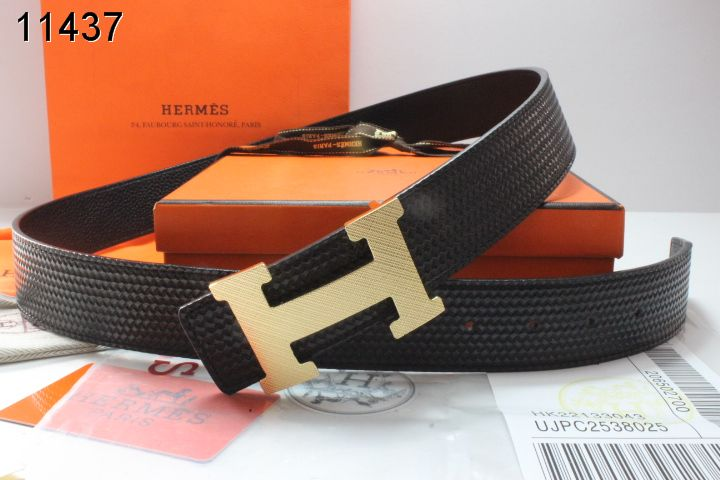 New Mens Hermes Belt Black with Golden H Buckle Sale