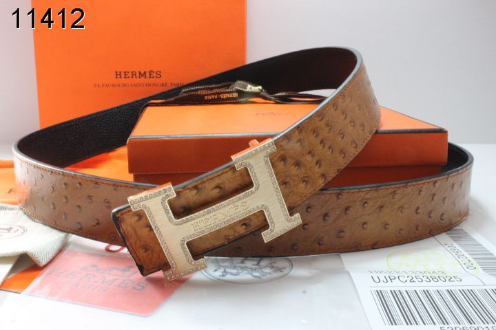 Trendy Mens Brown Hermes with Golden H Buckle Belt