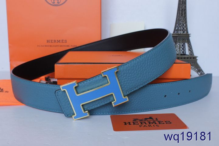 Fashionable Belt Hermes Blue Mens with Blue H Buckle Deals
