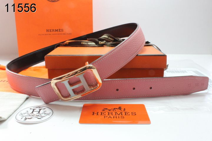 Pink Womens Belt Hermes with Golden/Silver H Buckle Promote