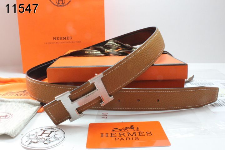 Fashionable Hermes Brown with Silver H Buckle Womens Belt
