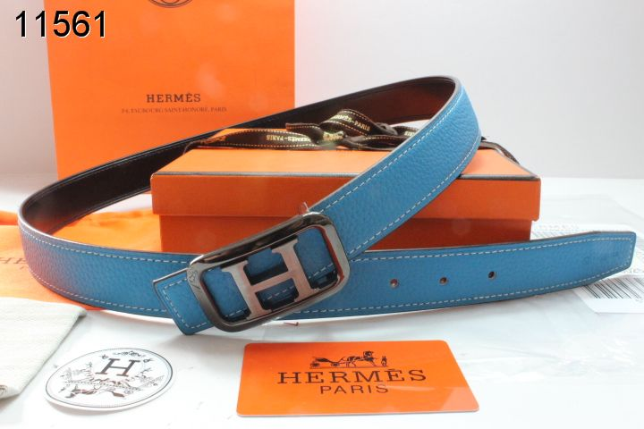 Good with Black/Gray H Buckle Hermes Womens Belt Blue