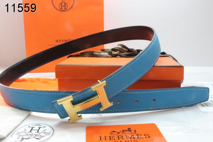 Hot Womens Belt Blue Hermes with Golden H Buckle
