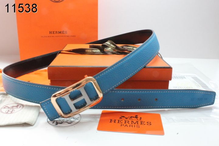 Nice with Golden/Silver H Buckle Hermes Blue Belt Womens