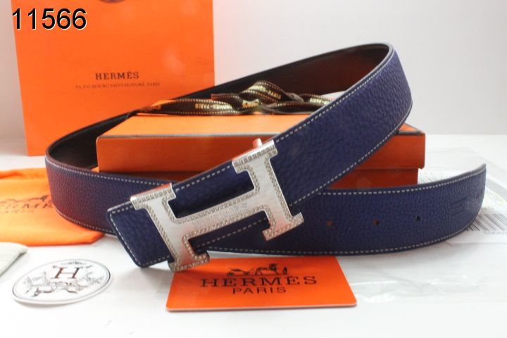 Cheap Womens Hermes Belt with Blingbling H Buckle Dark Blue