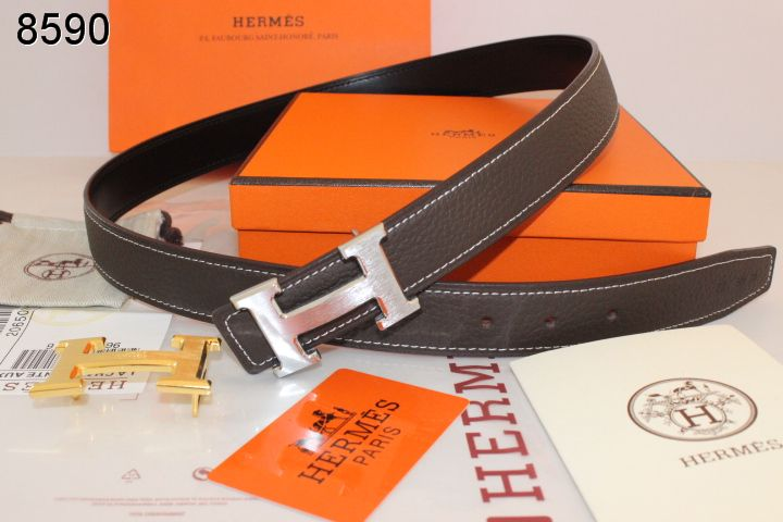 Designer with Silver H Buckle Hermes Belt Womens Chocolate