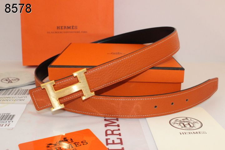 Hermes Orange Womens Belt with Golden H Buckle Wholesale